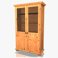 realistic wood hutch cabinet 3d model