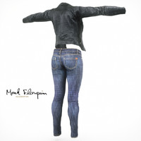 jeans leather jacket 3d model