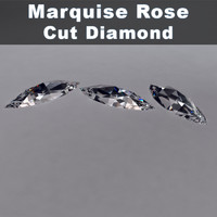 3d model marquise rose cut diamond