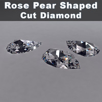 rose pear shaped cut diamond 3d max