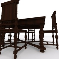 Old table with chairs