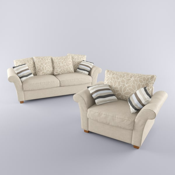 3d model sofa armchair - Modern Armchair and Sofa... by vodafone2