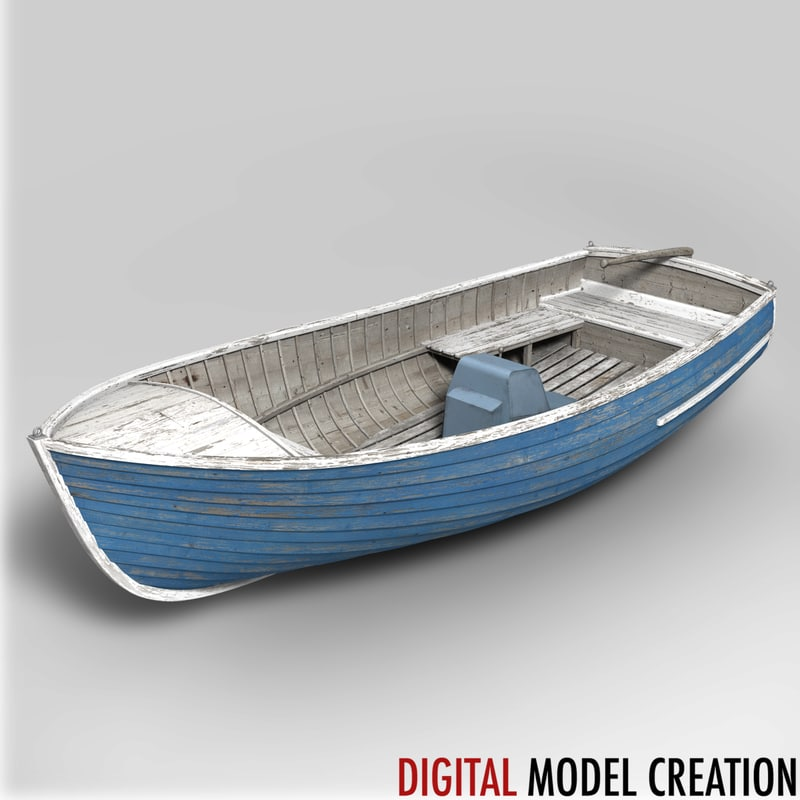 Motorized Dinghy Small Boat Obj