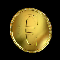 3d euro golden coin