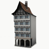 low-poly house facade 3d model
