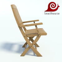 Realistic wooden garden chair