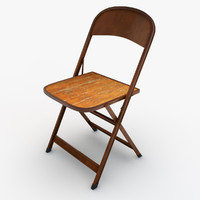 3d model of folding metal wood chair