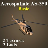 3d model of aerospatiale basic helicopter