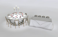 round banqueting table and trestle table