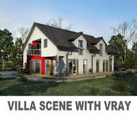 photoreal villa scene 3d max