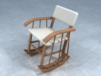 3d model classical wooden rocking chair