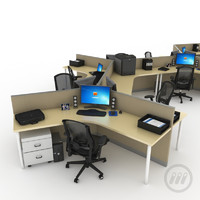 3d model of office desk workstation
