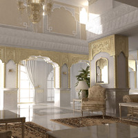 3d scene luxurious arabian living room model