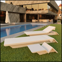 3d model set outdoor furniture sun lounger