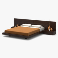 3d model modern bed walnut wood