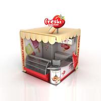 3d model booth ice cream sticks