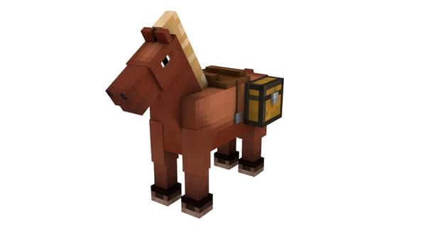 minecraft horse rig 3d model