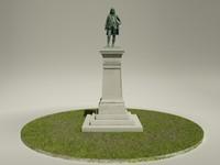 benjamin franklin statue 3d obj