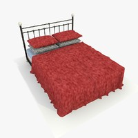 3d model metal bed red velvet