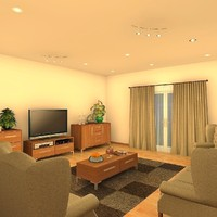 living room night scene 3d model