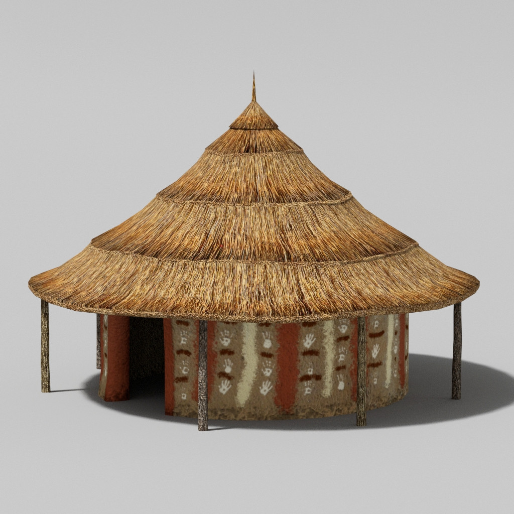 African hut 3d 3ds for Best tribal house