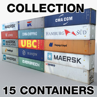 3d cargo shipping containers industrial model