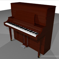 3d model piano upright wood