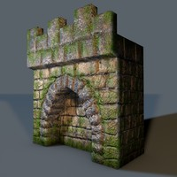 3d low-poly old castle wall