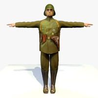 world war german lieutenant 3d model