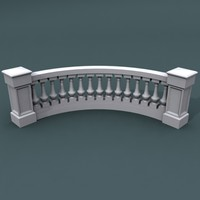 curve balustrade bend 3d model