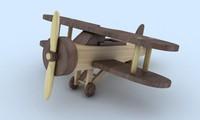 3d toy wood plane model