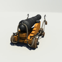 naval ships cannon 3d model