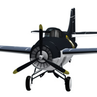 jet plane f4f wildcat 3d model