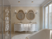 3d interior scene classic bathroom