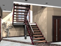 modern staircase 3d max