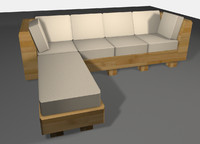 bamboo sofa couch obj