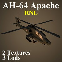 3d ah-64 apache rnl attack helicopter model