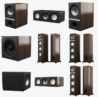 3d model kef q series speakers