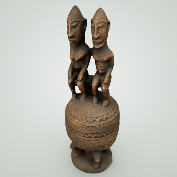 3d wood carved couple sphere model - Couple on Wooden Sphere... by markflorquin