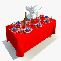 3d model rectangle dining table sets
