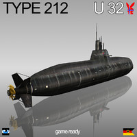 3d model type 212 submarine u-32