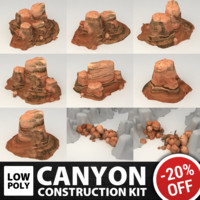 3d set canyon polys model