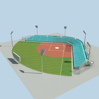 3d baseball stadium ball model
