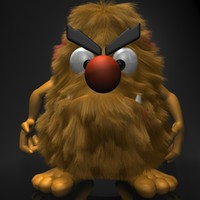 cartoon hairy monster rigged 3d model