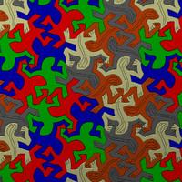 3d model of escher lizard pattern