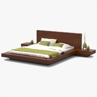 3d platform bed cherry wood