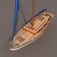 old wood sailboat 3d model