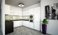 3d model minimalist kitchen living