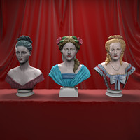 3d decorative female busts model