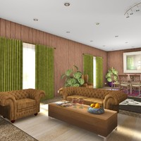 3d timber living room model